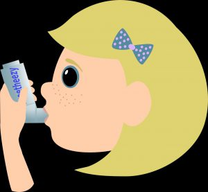 Clipart of girl using asthma inhaler